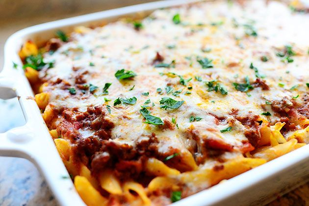 Get cooking with cans! Try this Baked Ziti Casserole from the Pioneer Woman (Ree Drummond) made with canned tomato sauce!