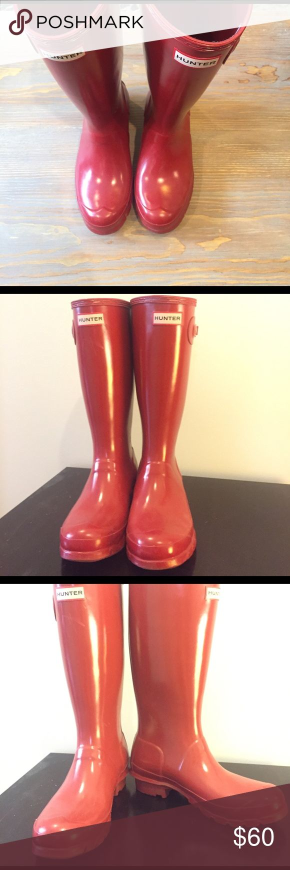 "Red Hunter rain Boots True red. I am super short so I bought a kids size 5 (for adult 7). I have small calves so they fit great, and they are not super tall- just below my knees (the tall ones did not fit me as a petite person). They are gently loved and in good shape. 13"" tall from heel. The back of the boots have little silver reflectors on them, as they do for all children sizes. I am 5'0 for reference on height. Hunter Shoes Winter & Rain Boots"
