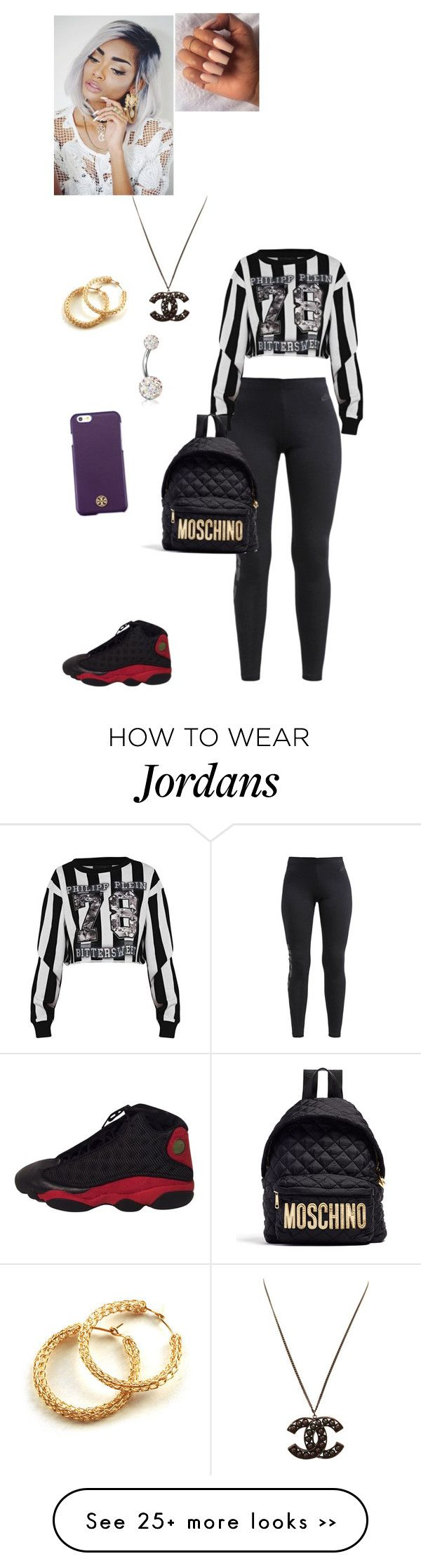 """Untitled #1032"" by danillove14 on Polyvore featuring NIKE, Philipp Plein, Bling Jewelry, Tory Burch and Moschino"