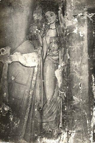 Anonimo , Sotio Alberto - scuola - sec. XIII - Croce dipinta: San Giovanni Evangelista dolente - particolare, prima della rimozione delle ridipinture