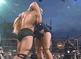 Goldberg delivers his finisher, the Jackhammer, to The ...