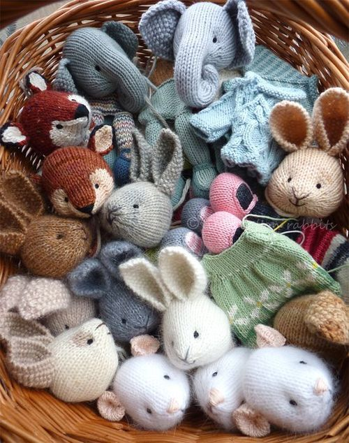Basket of knit animal toys