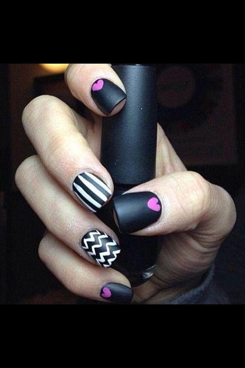 Nail art, matte, Black, white, pink