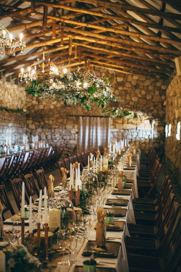 vintage woodland indoor wedding reception