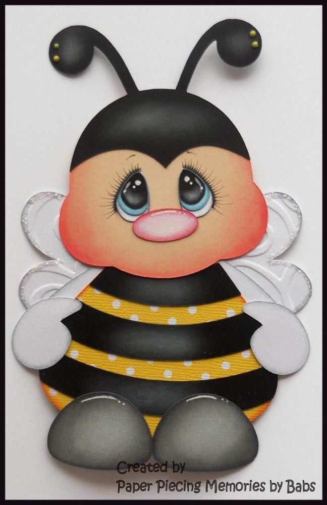 Bee Outfit Premade Paper Piecing Die Cut for Scrapbook Page by Babs Created by Paper Piecing Memories by Babs