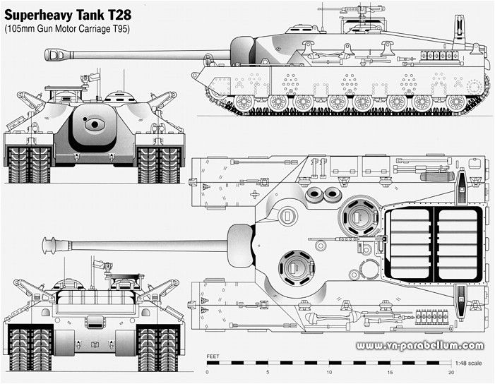 The T28 super-heavy tank and T95 tank destroyer (gun motor carriage to be exact) was a very heavyweight tank project. The tank was built to ...