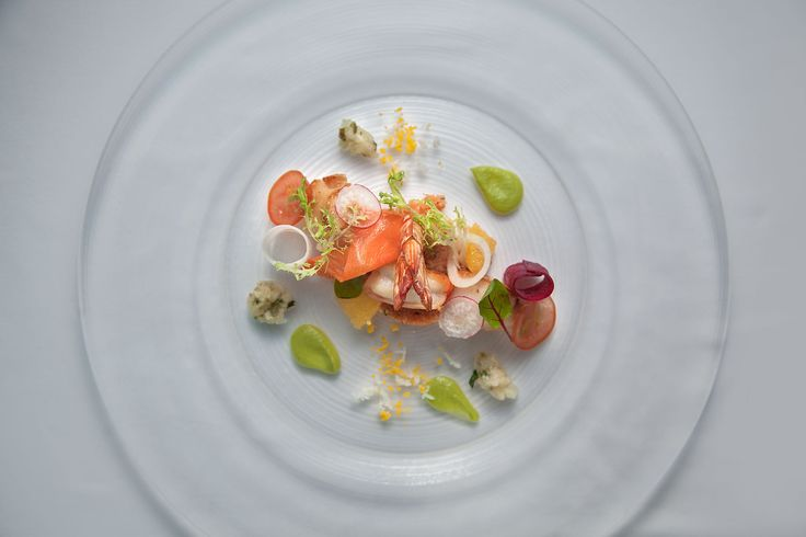 Seafood Salad with Tomato Couscous Served with Green Peas Puree and Ravigote Sauce