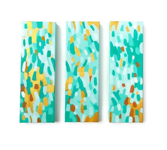 Coastal Abstract Triptych three original acrylic paintings by Jessica Torrant