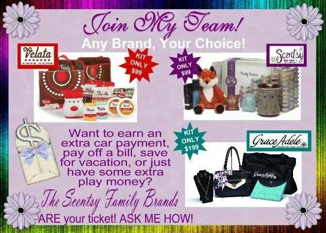 Needing a little extra $$$? How about a lot of $$$? Scentsy Family can help you get there with one, two or all three of the brands they offer. Scentsy pays for my families holidays &   vacations every year and then some. Your business is what you want to get out of it and only part-time hours.  Contact me today! http://stephsinlovewithscents.scentsy.us