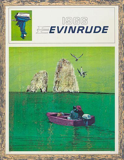 "PLAKAT  ""1966 Evinrude"". Antagelig 1966. Lysmål: 81x61. ""E66P3 Litho in U.S.A."". Nyinnrammet."