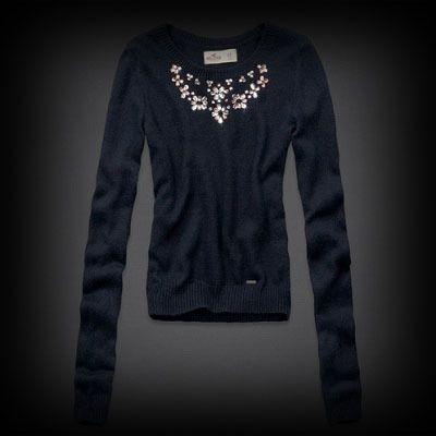 Hollister Alcazar Necklace Sweater セーター 首元のビジュー飾りがキラキラと輝いて上品なニット。大人かわいいアイテムです。