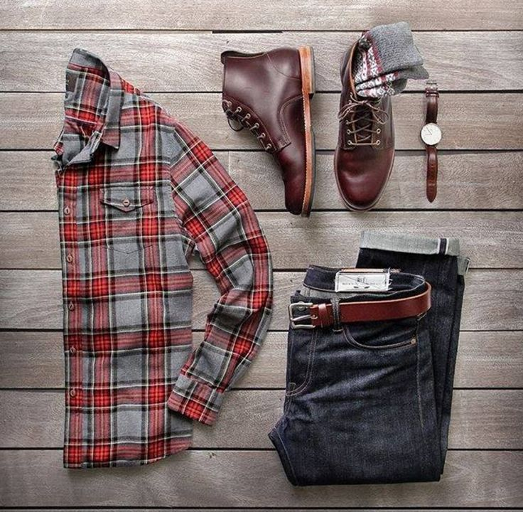 A timeless style. Flannel shirt, denim jeans, lace up brown boots and patterned socks. Mens Fashion and style. Fall and winter outfit. TrendyButler.com