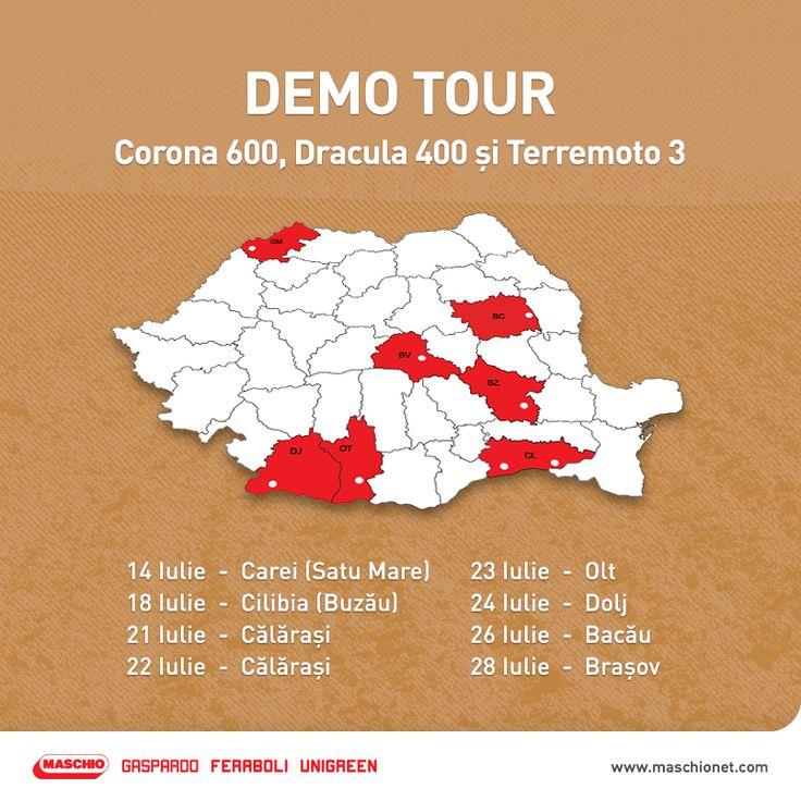 Pe 10 iulie, am început un tur de forță cu demonstrații pe câmp. Demonstrațiile se vor face cu semănătoarea Corona 600, grapa Dracula 400 și cultivatorul Terremoto 3 și încep în fiecare zi la ora 9:00, conform traseului anunțat mai jos.   Vino și tu la demonstrații să vezi cum funcționează utilajele agricole produse după cele mai noi tehnologii!  Pentru mai multe informații despre Demo Tour, poți să contactezi Area managerul din județul tău.