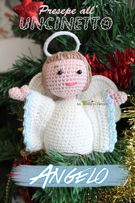Buon Lunedì! Oggi vi propongo lo schema di un angelo amigurumi che rappresenta il nono personaggio del presepe ad uncinetto.