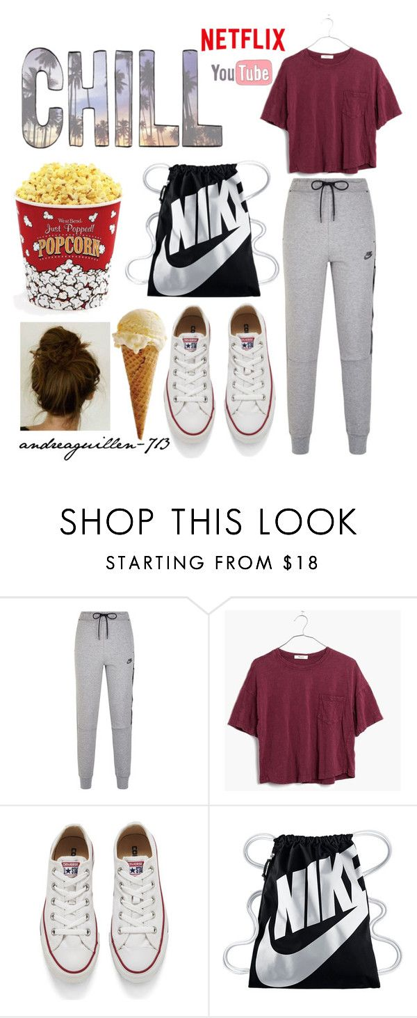 """""""Sunday + Sweats"""" by andreaguillen-713 ❤ liked on Polyvore featuring NIKE, Madewell, Converse and West Bend"""