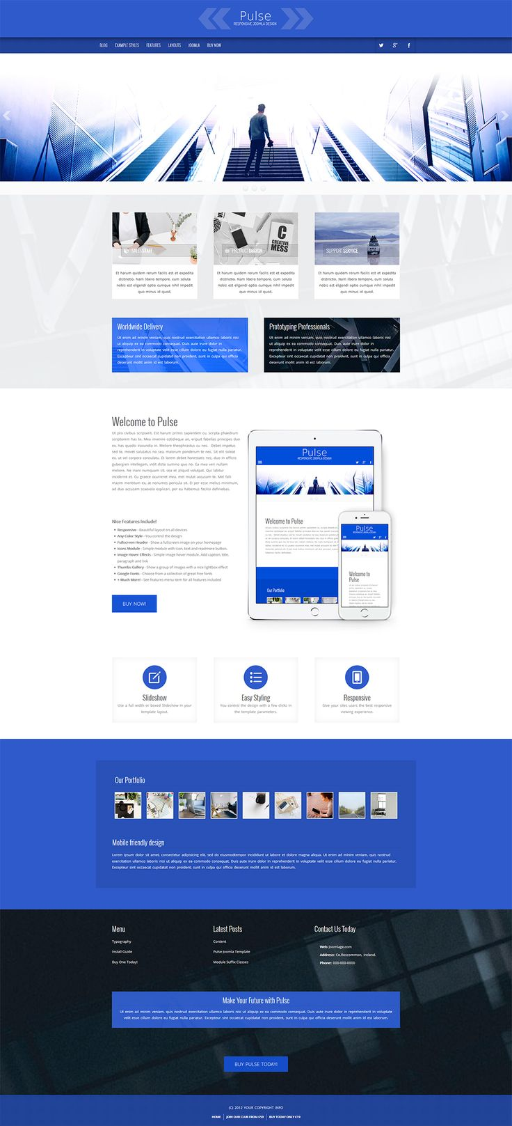 A bright simple smart #joomla #template design. #webdesign #graphicdesign #blue