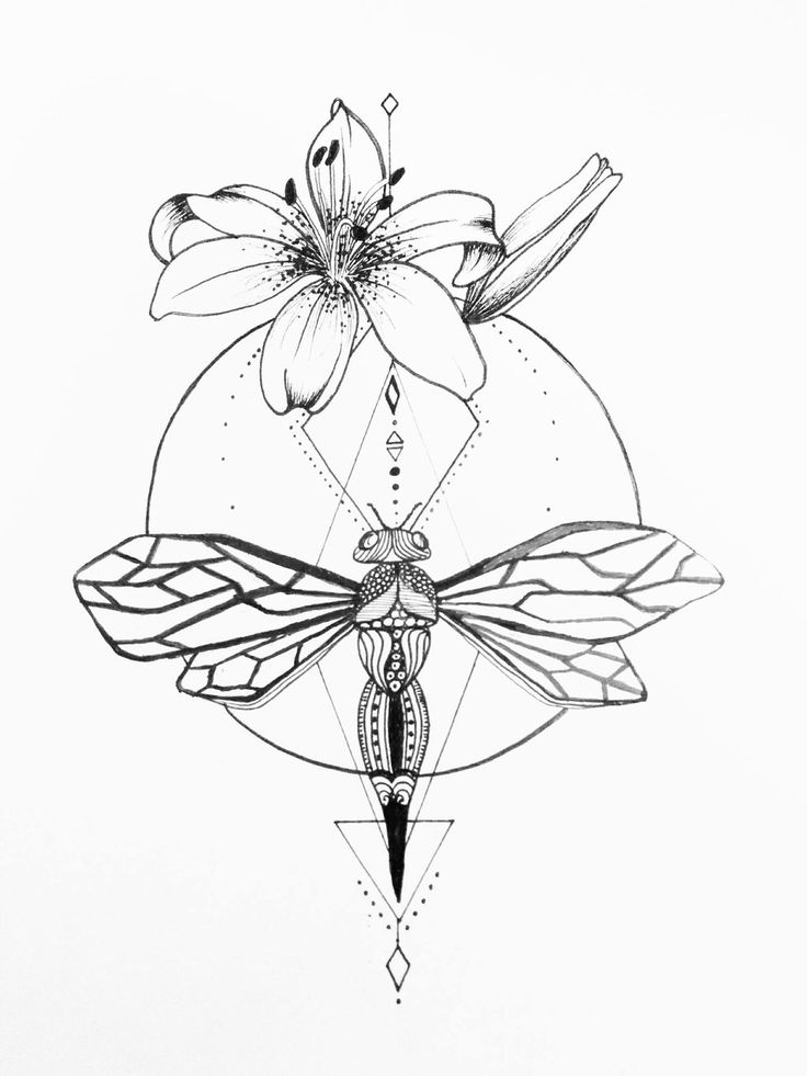 Dragonfly And Hybiscus Tattoo by grisouICSH.deviantart.com on @DeviantArt