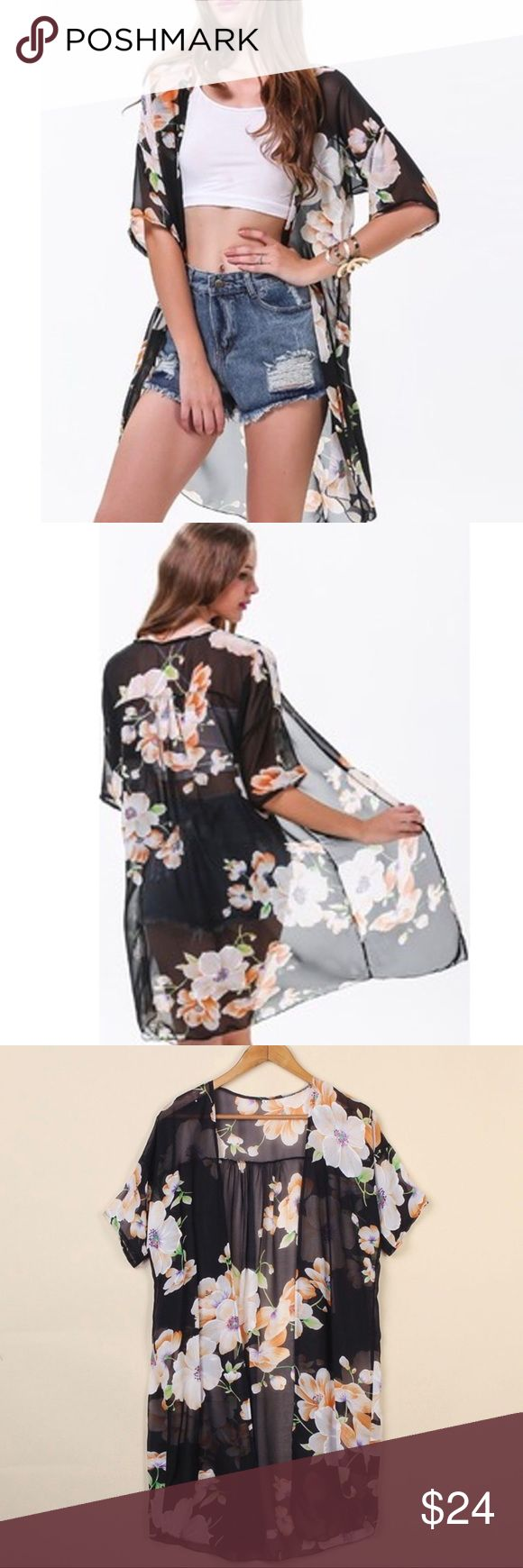 ✨New✨Floral Chiffon Cardigan Brand new Floral Chiffon Cardigan. Can be worn with a dress or over a swim suit. Such a gorgeous piece! Available in Medium or Large. Boutique Sweaters Cardigans