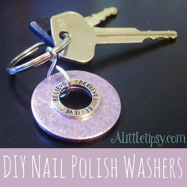 DIY Nail Polish Washers by A Little Tipsy. I recently purchased some pretty colored nail polishes. If you make the washers into jewelry and wear the same nail polish you will be soooo coordinated. Interestingly enough, this is the second washer craft I have seen today...may need to add them to my craft supplies!