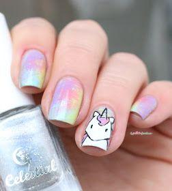 Paint All The Nails Presents Dry Brush kawaii unicorn rainbow nail art