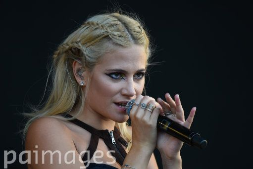 Pixie Lott performing on the MTV Stage during day two of the V Festival at Weston Park in Staffordshire.