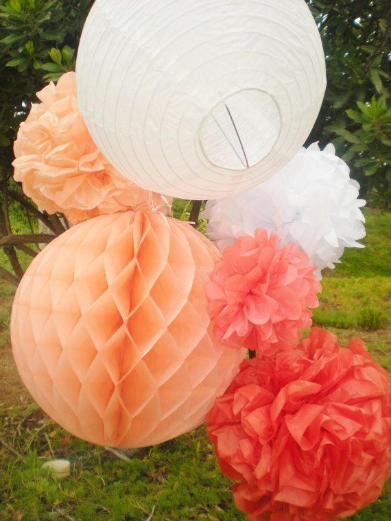 Coral ombre tissue pom poms, honeycomb balls, paper lanterns, peach coral white