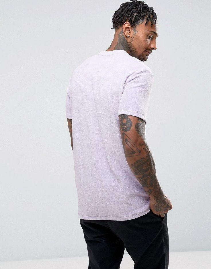 ASOS Longline T-Shirt In Pastel Purple Towelling - Purple