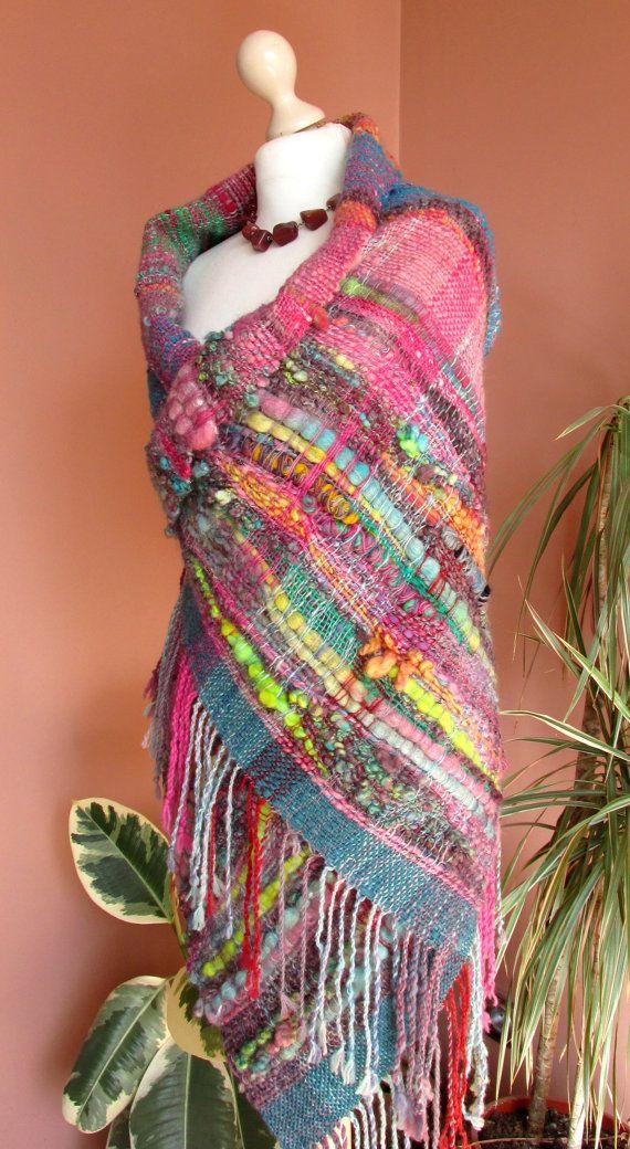 Handwoven Saori Wrap ShawlSaori Large Wool von PastoralWool auf Etsy