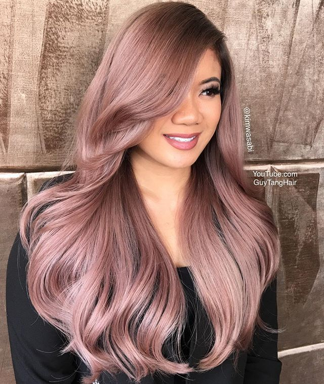 @hairbesties_  beautiful model @ash_ley000 got a makeover from #GuyTangHairBattle winner super star @kimwasabi and created this magical #rosewood metallic or mauve tone using @kenraprofessional bronze collection and other injected formulas! Subscribe to my channel to see the video of Kim's journey through the first #GuyTangHairBattle