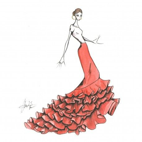 Patrón falda de cola para baile. #moda #flamenca #patrones #volantes #lunares #sketch #dibujo #boceto #pintura #modelo