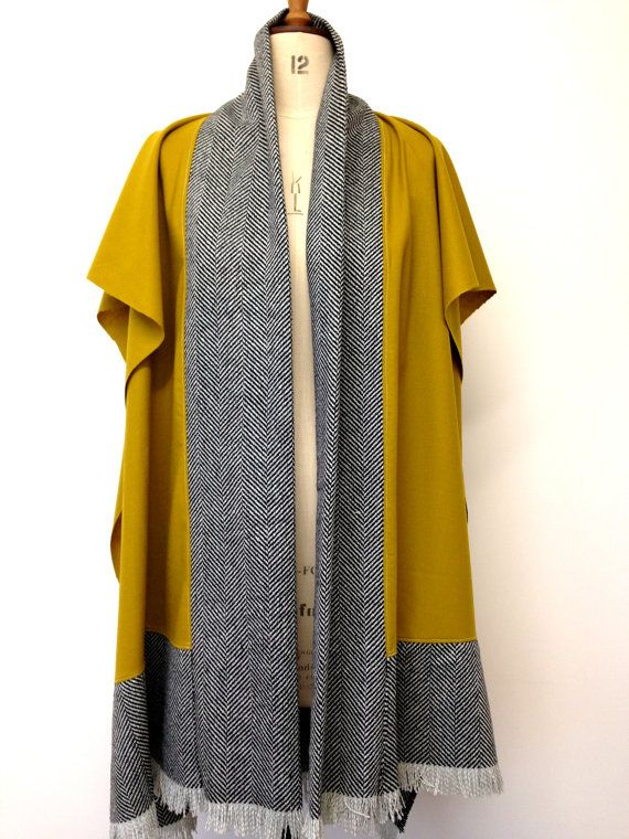 Wool Poncho - Chartreuse Wool Cape Mens Poncho- Herringbone Wool Cape - Womens Ponchos - Menswear Fashion Winter Ponchos Capes - Made in UK