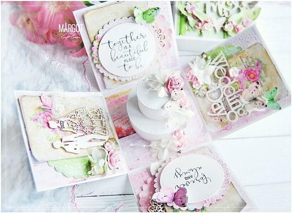 Explosión de caja de tarjeta de boda hecho a mano