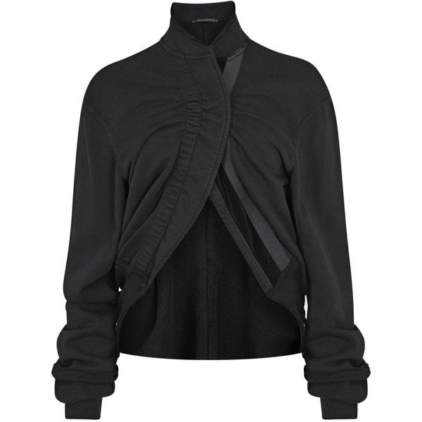 Womens Bomber Jackets Haider Ackermann Black Ruched Jersey Bomber... ($765) ❤ liked on Polyvore featuring outerwear, jackets, shirts, bomber jacket, long sleeve jacket, haider ackermann, black jacket and jersey jacket