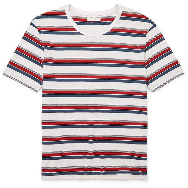 Saint Laurent Striped Cotton-Jersey T-Shirt ❤ liked on Polyvore featuring men's fashion, men's clothing, men's shirts, men's t-shirts, yves saint laurent mens shirt, mens multi coloured shirts, mens stripe shirts, yves saint laurent mens t shirts and mens striped t shirt