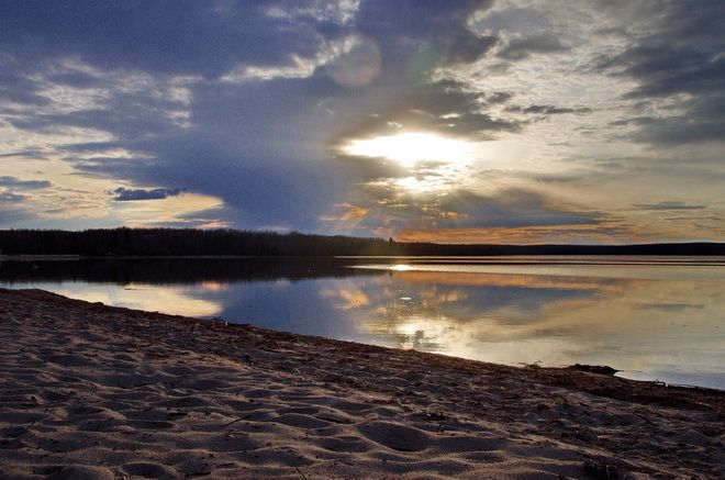 Our day ends with a beautiful sunset at the Sandy Beach Campground - with loons calling in the background - Meadow Lake Provincial Park, Saskatchewan