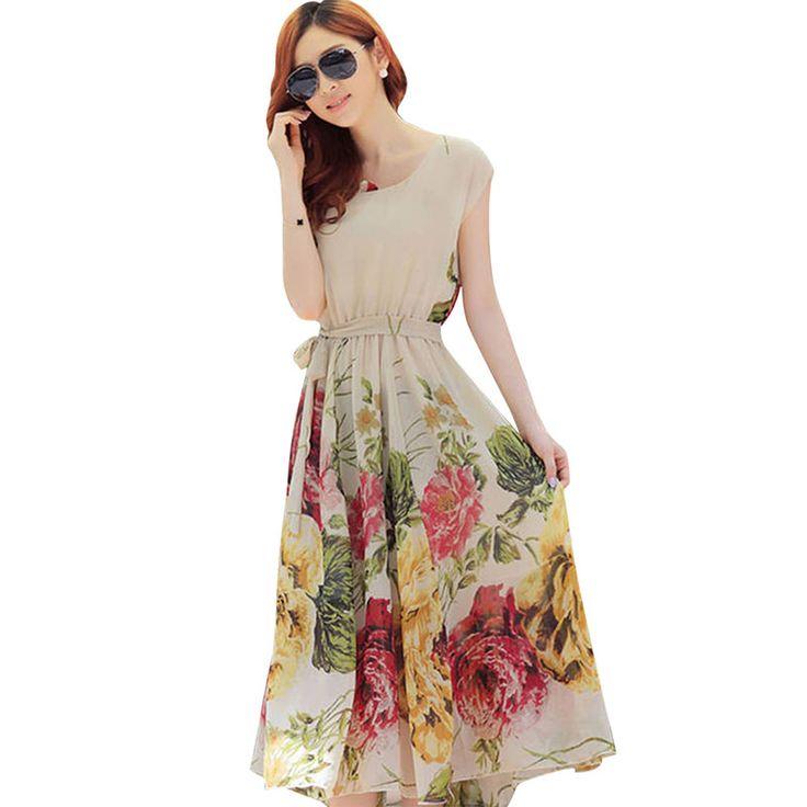 Летние цветочные печати макси платья женщины повседневная свободные шифон о-образным вырезом длинное платье плюс размер платье