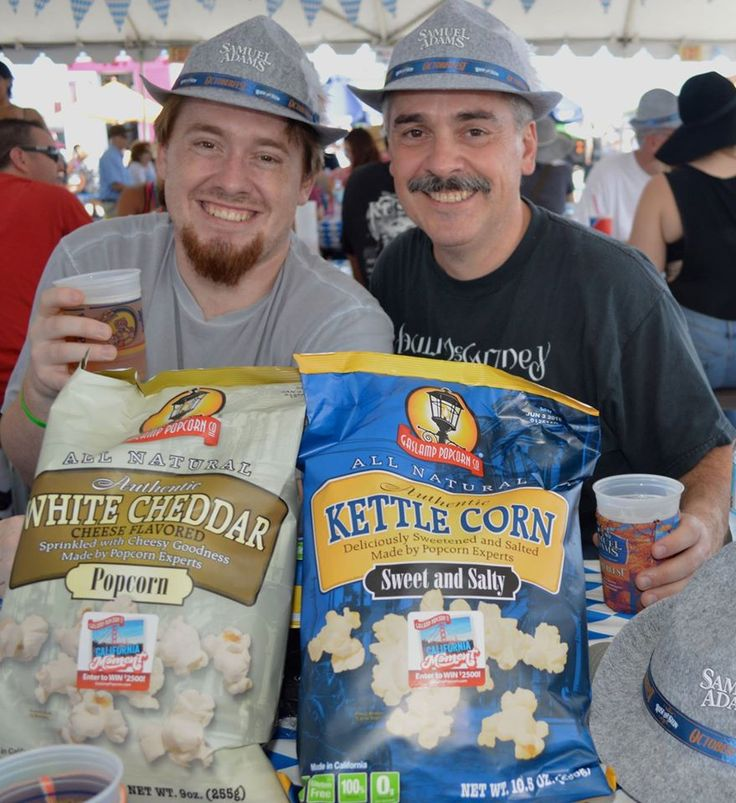 Who doesn't love a good beer with their Gaslamp Popcorn at the 2015 Samuel Adams Octoberfest in Costa Mesa, California