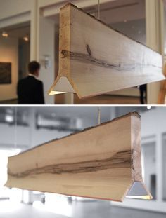 Natural wood lamp - modern wood plank LED ceiling light. THIS IS THE LIGHTING!