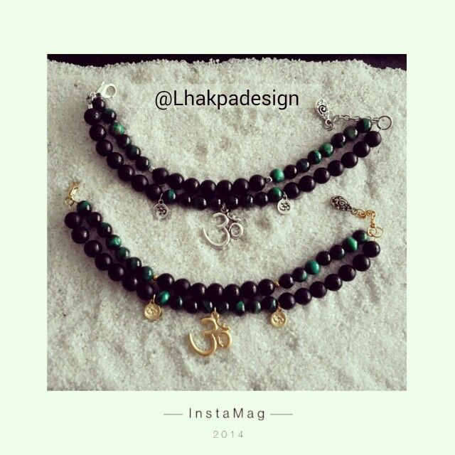 Yoga Bracelets / Black Agate and Green Tigereye beads with Gold, Silver Plated Om Pendant.