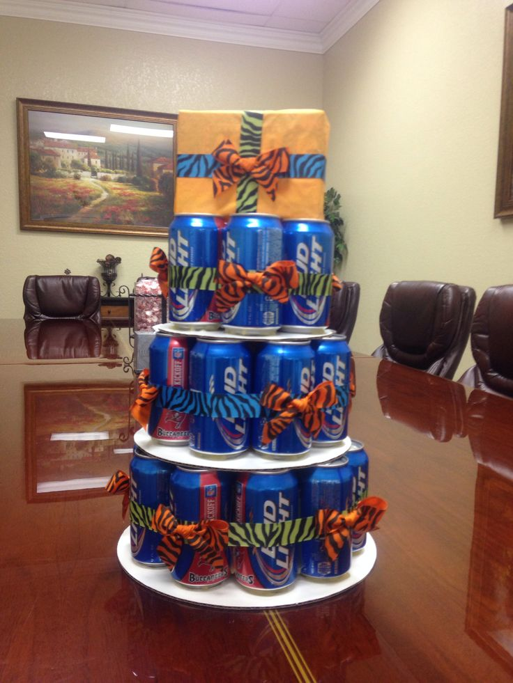 Beer can cake!!.. I made one for Chris' 30th birthday .. But this one reminds me of dad!! :) him and his bud light