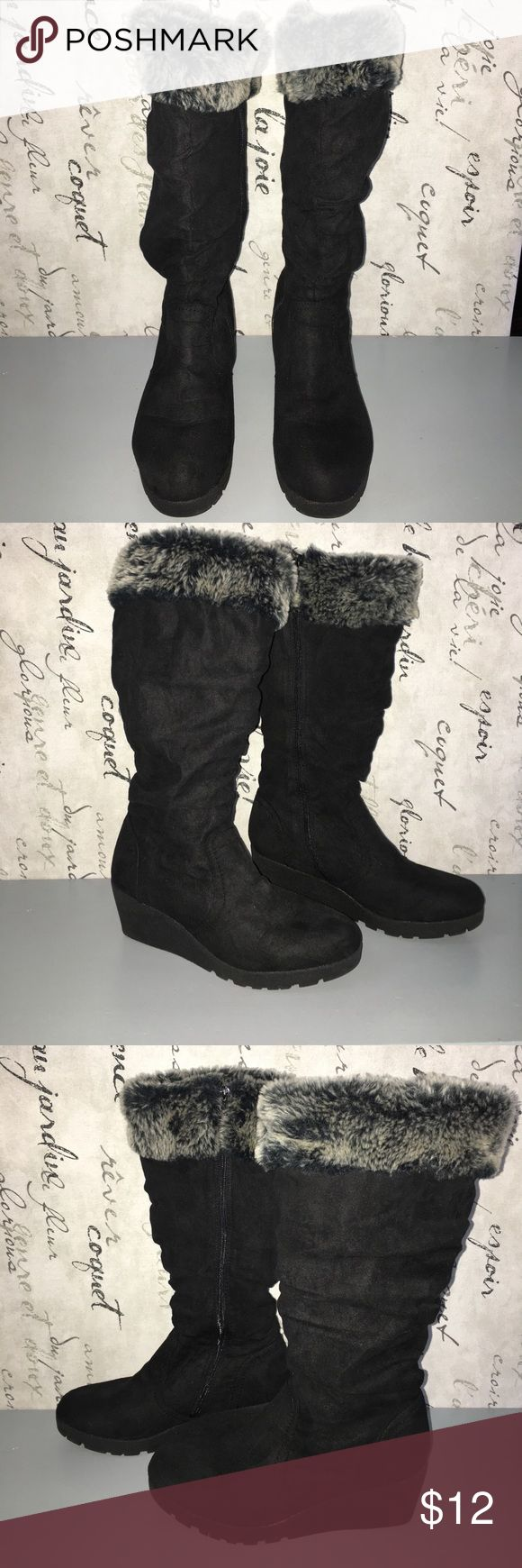 Faded Glory fur topped black suede wedge boots Faded Glory fur topped black suede wedge boots size 10. Gently used and in good condition. Faded Glory Shoes Winter & Rain Boots