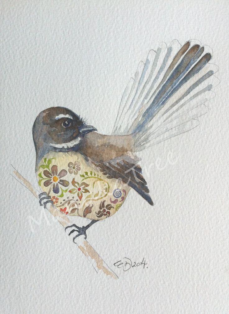 Pīwakawaka - NZ native fantail  http://felt.co.nz/listing/226169/Original-watercolour---Elizabeth-Dodd