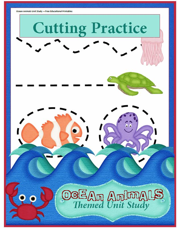 Ocean Animals Unit Study: Preschool Cutting Practice