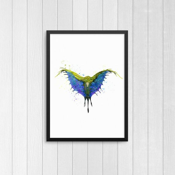 Swooping Evil, Fantastic Beasts, watercolor, #art #print #digital @EtsyMktgTool http://etsy.me/2A1AdSZ #bowtruckle #pickettbowtruckle