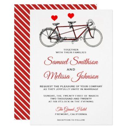 Vintage Cute Tandem Bicycle Wedding Invitation - elegant gifts gift ideas custom presents