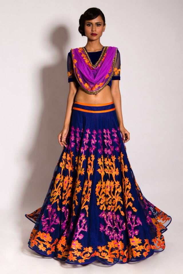 Gorgeous Lengha with vibrant colors and pattern - by Neeta Lulla. Love the skirt!