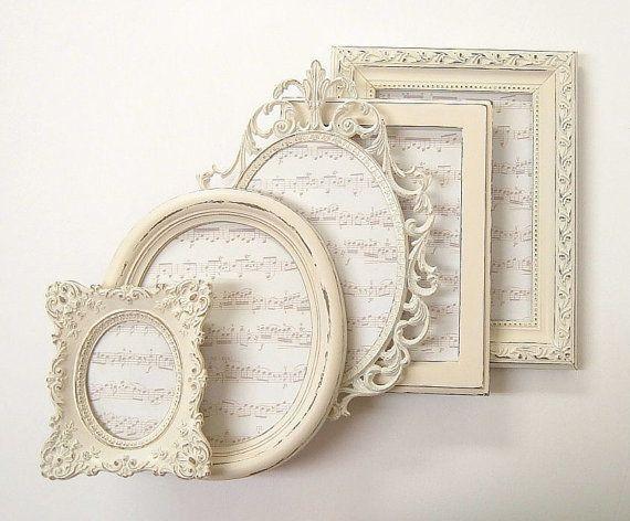 Shabby Chic Frames Picture Frame Set Ornate Frames Ivory Vintage Wedding Decor Home Decor