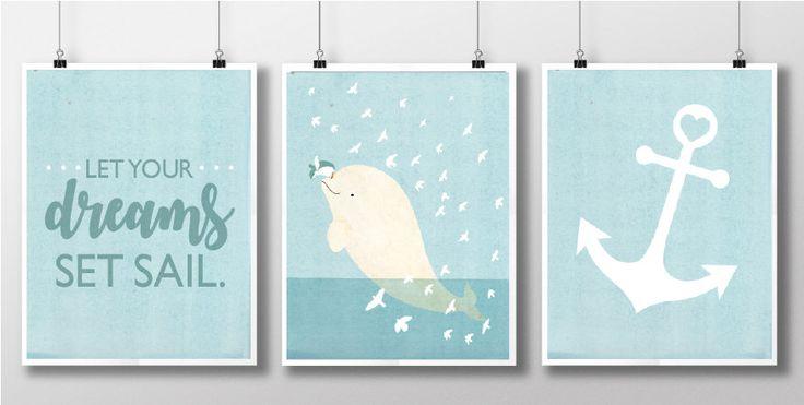 Beluga Whale Set, Nursery Room, Children's Room, Decor, Penguin, Ocean, Anchor, Quote by SmallDosesofWonder on Etsy