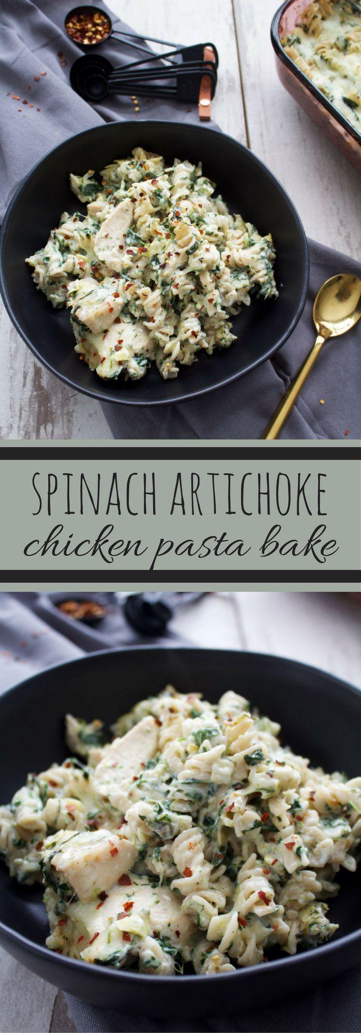 spinach artichoke chicken pasta bake | recipes | dinner | spinach artichoke dip | jalepenos | chicken | chicken pasta bake | pasta | pepperjack | lightened up
