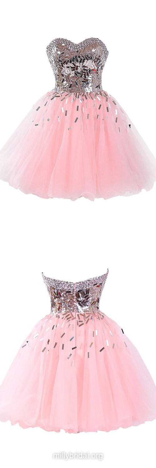 Stunning Pink Prom Dresses,Princess Short Homecoming Dress,Sweetheart Tulle Formal Party Gowns,Beading Evening Dresses,Sexy Girls Graduation Dress